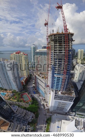 Highrise architecture in Miami Brickell
