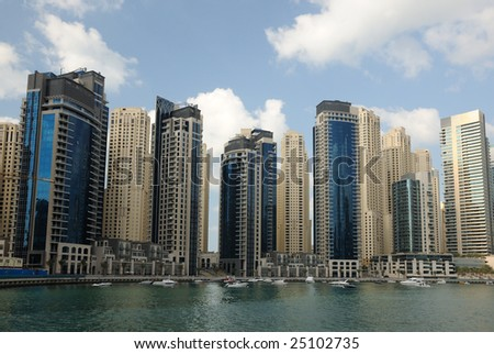 Highrise buildings at Dubai Marina, United Arab Emirates - stock photo