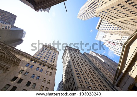 Highrise buildings at the Wall Street financial district in New York City, USA - stock photo