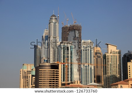 Highrise buildings of the Dubai Marina, United Arab Emirates