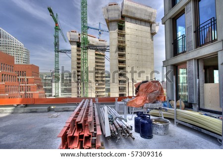 Highrise construction of office buildings in central The Hague, Holland - stock photo