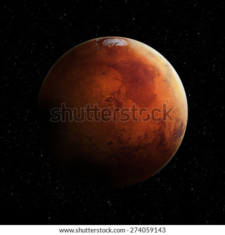 Hight quality Mars image. Elements of this image furnished by NASA