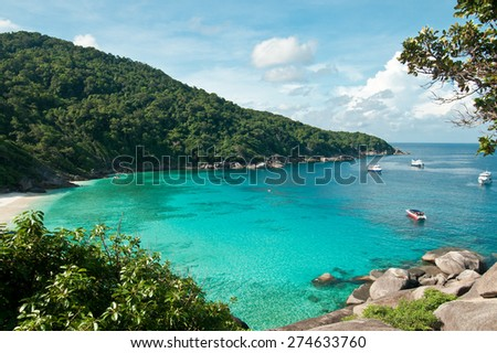 Hight view on tropical turquoise lagoon with sandy beach and tropical forest , Similan Island, Phuket, Thailand - stock photo