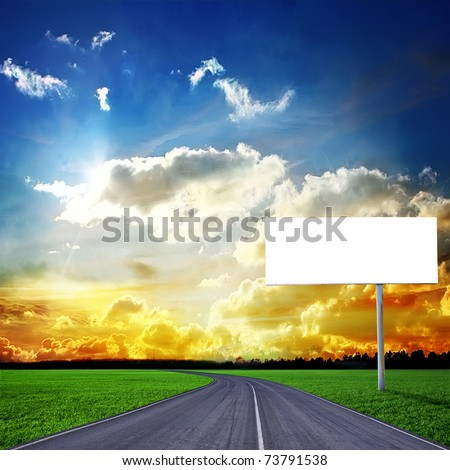 Highway and empty billboard - stock photo