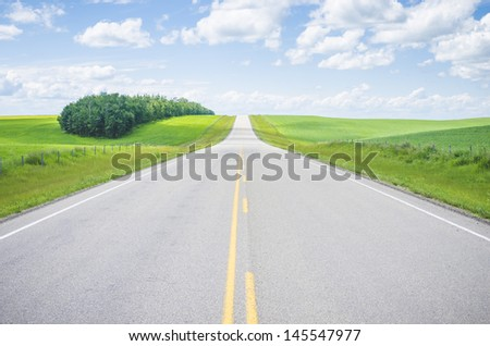 Highway and green fields