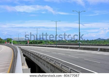 highway and Ting Kau bridge - stock photo