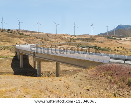 highway and wind turbines
