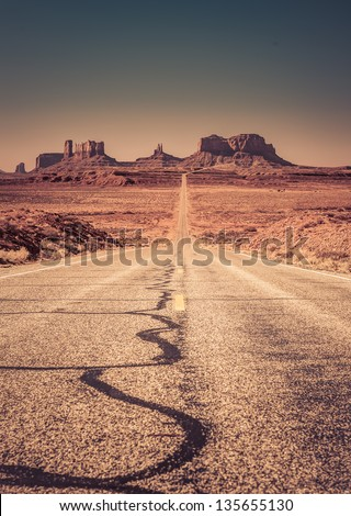 Highway 163 approaching Monument Valley - stock photo