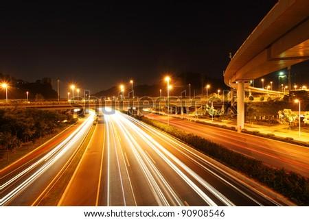 highway at night - stock photo