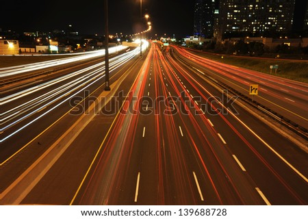 Highway 401 at night night time in Toronto - stock photo