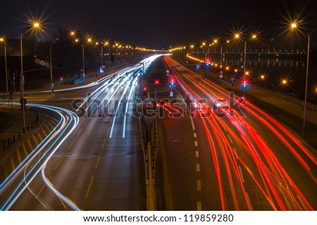 Highway at night. Poland, Warsaw.