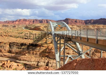 Highway bridge over a canyon in southern Utah, USA. - stock photo