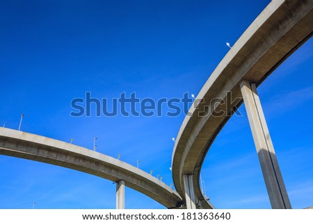 Highway Bridge over Chao Phraya river Thailand