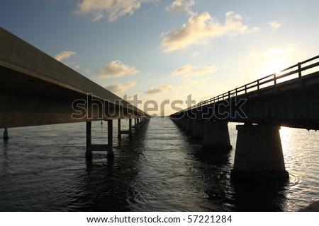 Highway bridge over Florida Keys - stock photo