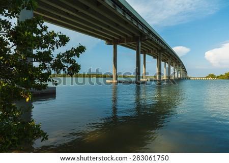 Highway 92 bridge over Goodland Bay leading to Marco Island in Florida. - stock photo