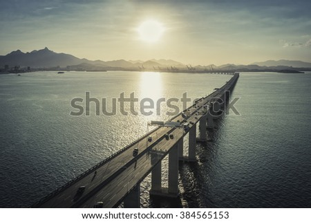 Highway Bridge over the ocean leading to the city, Rio de Janeiro, Brazil