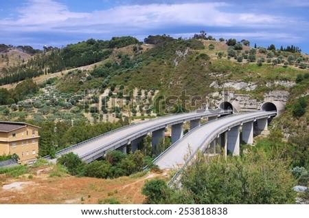 highway bridge to nowhere  - stock photo