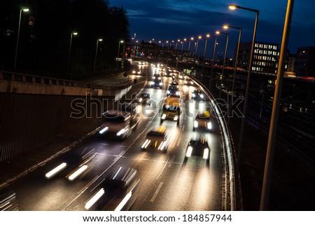 highway by night in berlin - stock photo