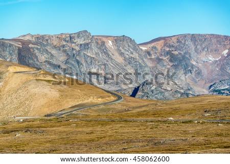 Highway climbing up the Beartooth Mountains in Montana, USA - stock photo