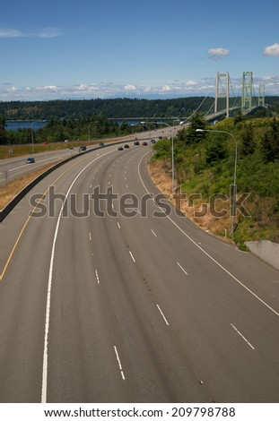 Highway 16 Crossing Puget Sound Over Tacoma Narrows Bridge - stock photo
