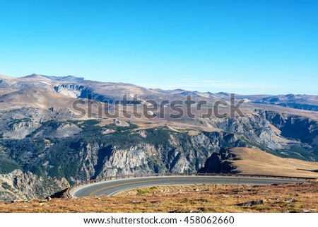 Highway curving through the Beartooth Mountains in Montana, USA - stock photo