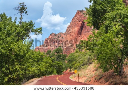 Highway entrance and scenic drive to Zion National Park in Utah - stock photo