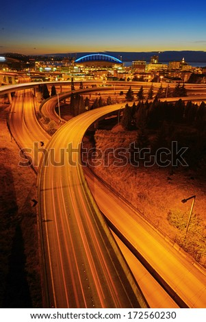 highway evening traffic in seattle - stock photo