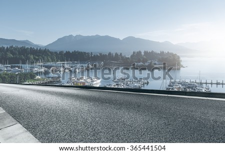 highway go side harbor, seattle, usa. - stock photo