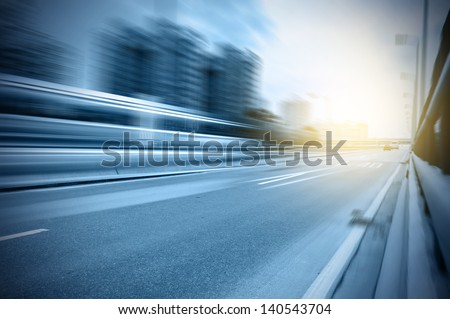 Highway heading to the city,In the center of Shanghai China. - stock photo