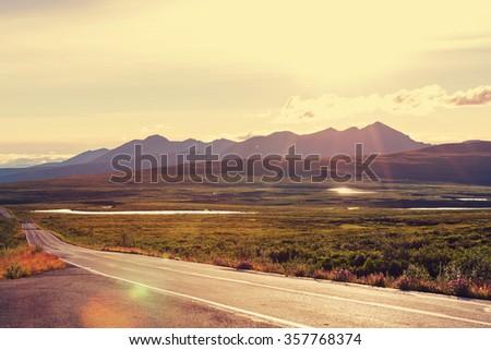 Highway in Alaska - stock photo