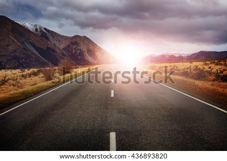 highway in arthur's pass national park new zealand - stock photo