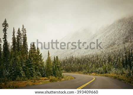 Highway in Banff National Park, Canada. - stock photo