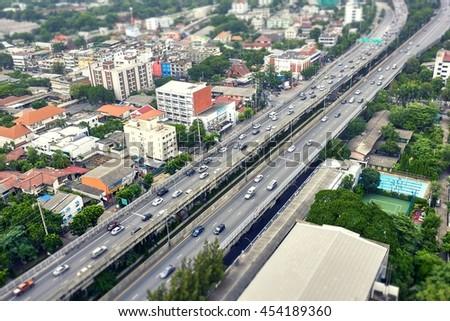 Highway in Bangkok, tilt shift blur filter - stock photo