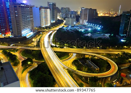 Highway in city at night - stock photo
