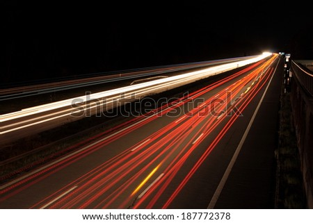 Highway in Germany at night and darkness, horizontal - stock photo