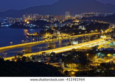 Highway in Hong Kong at night, tuen mun district - stock photo