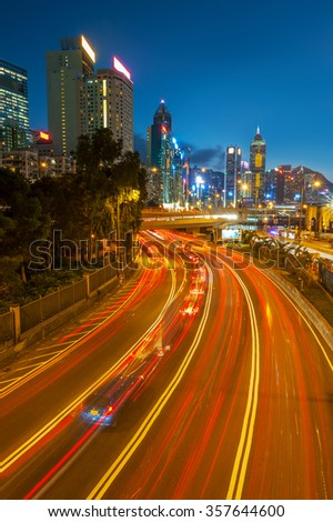 Highway in Hong Kong City at dusk
