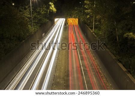 Highway in Rotterdam. Rotterdam, South Holland, Netherlands. - stock photo