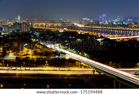 Highway in Seoul - stock photo