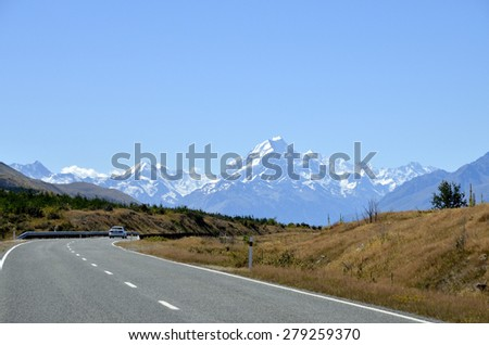Highway in Southern Alps, New Zealand. - stock photo