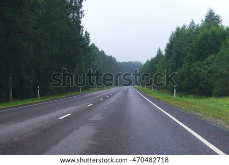 Highway in the forest after the rain.