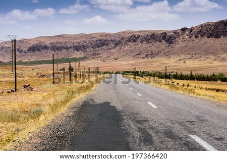 Highway in the High Atlas, Morocco, Africa - stock photo
