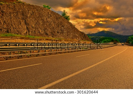 Highway in the Italian Apennines at Sunset - stock photo