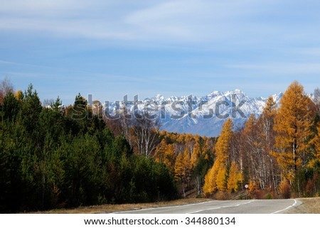 Highway in the Valley. Bright autumn landscape. The blue sky and mountains on the horizon. Used toning of the photo.