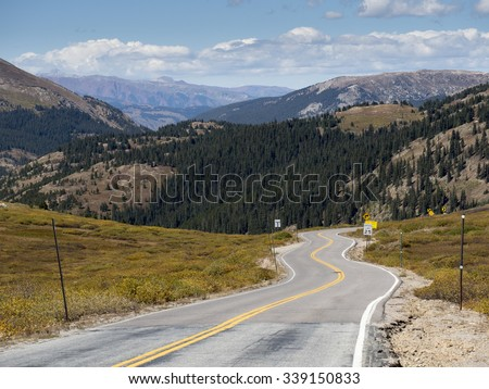 Highway 82, Independence Pass near Aspen, Colorado Rocky Mountains.