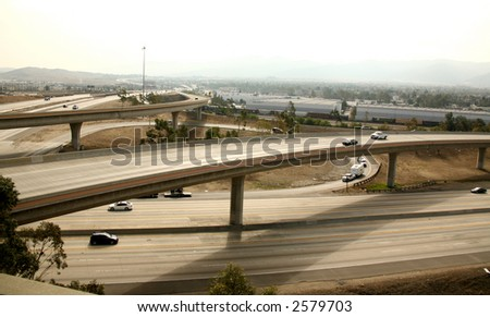 Highway Intersection in California on Smoggy Day - stock photo