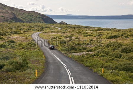 Highway leading out of Reykjavik, Iceland - stock photo
