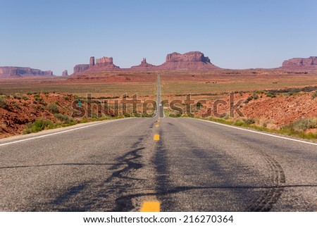 Highway leading towards Monument Valley in Utah, USA - stock photo