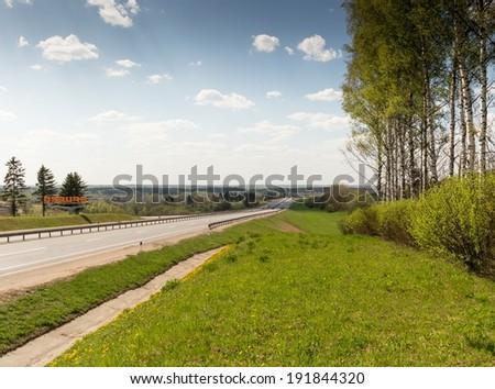 Highway Moscow-Minsk, panorama near town Yartsevo, Russia - stock photo