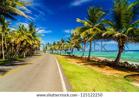 Highway next to turquoise Caribbean sea and palm trees in San Andres, Colombia - stock photo